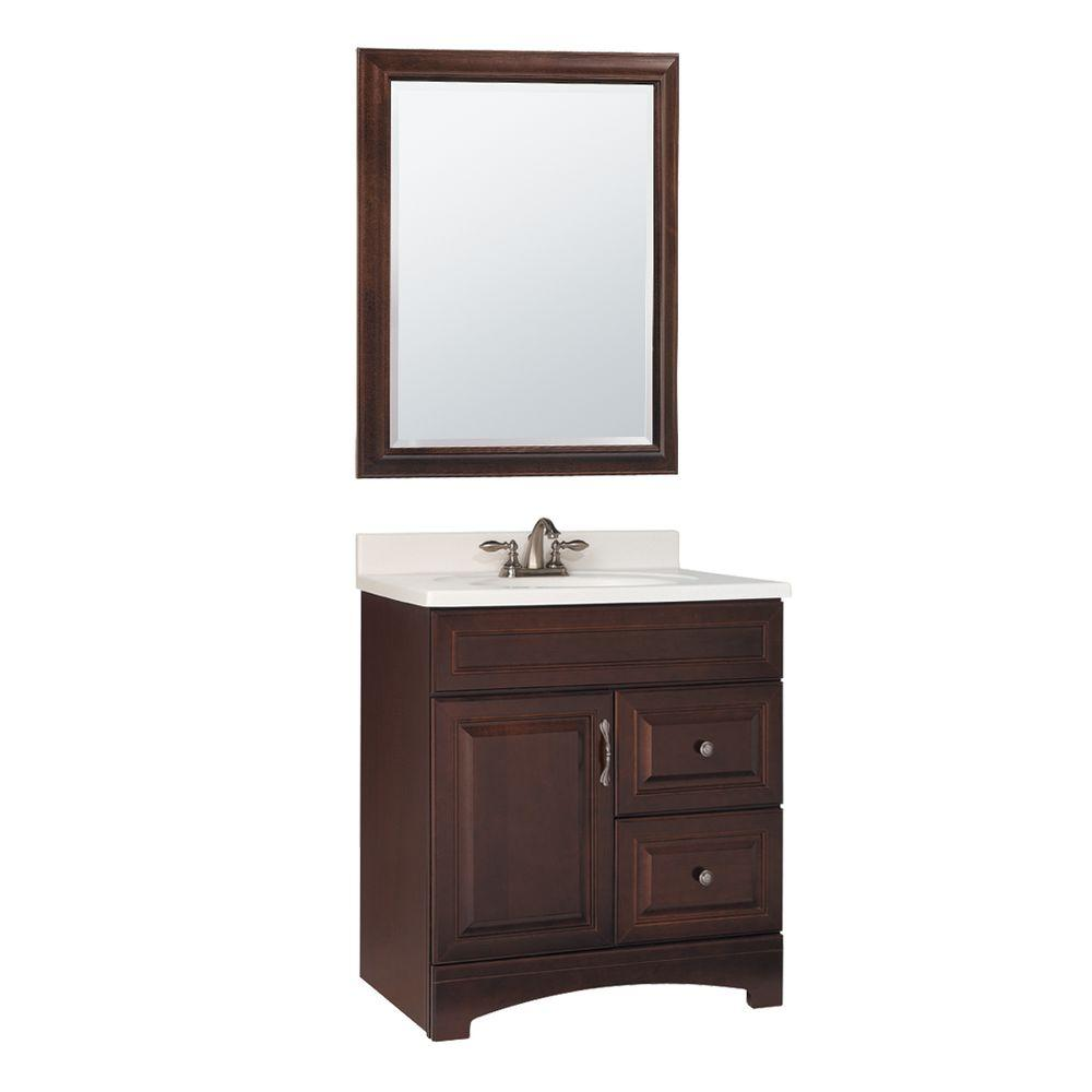 American Classics Gallery 30 in.W x 21 in. D Vanity Cabinet with Mirror in Java-DISCONTINUED