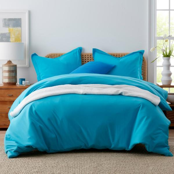 The Company Store Jersey Knit Cotton Island Blue Queen Duvet Cover