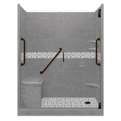 Del Mar Freedom Grand Hinged 36 in. x 60 in. x 80 in. Right Drain Alcove Shower Kit in Wet Cement and Black Pipe