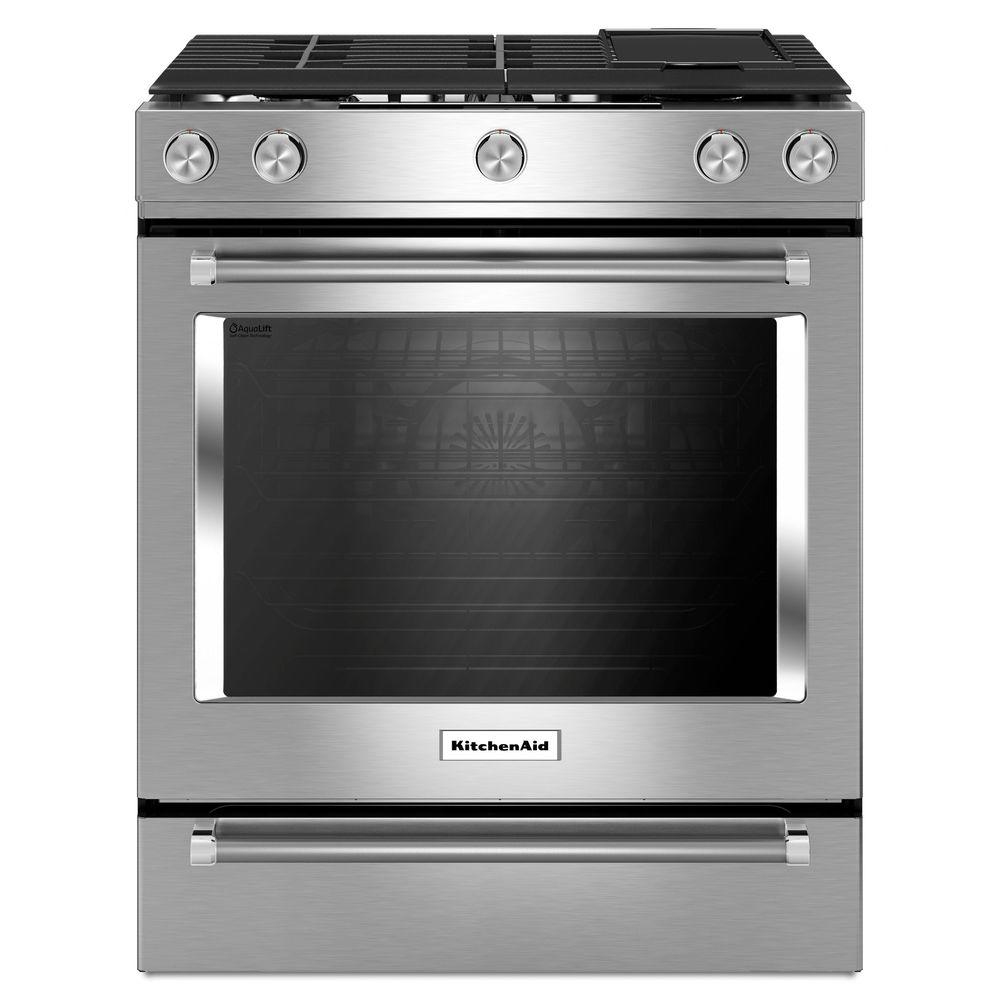 kitchenaid 30 in 6 5 cu ft slide in gas range with self cleaning