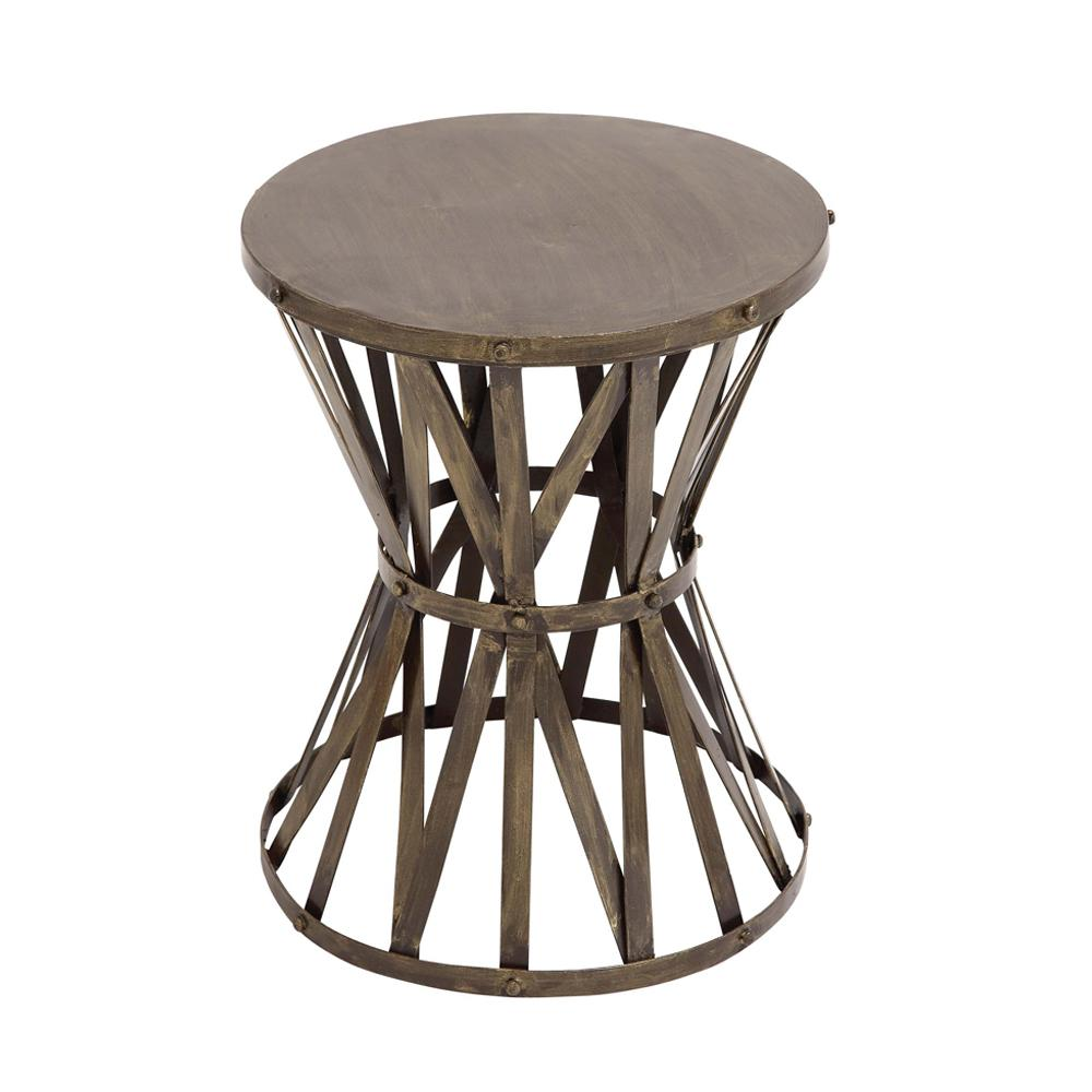 Gray Caged Hourglass Metal Accent Table