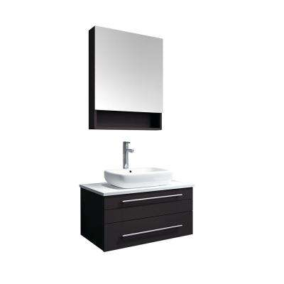 Lucera 30 in. W Wall Hung Vanity in Espresso with Quartz Stone Vanity Top in White with White Basin and Medicine Cabinet