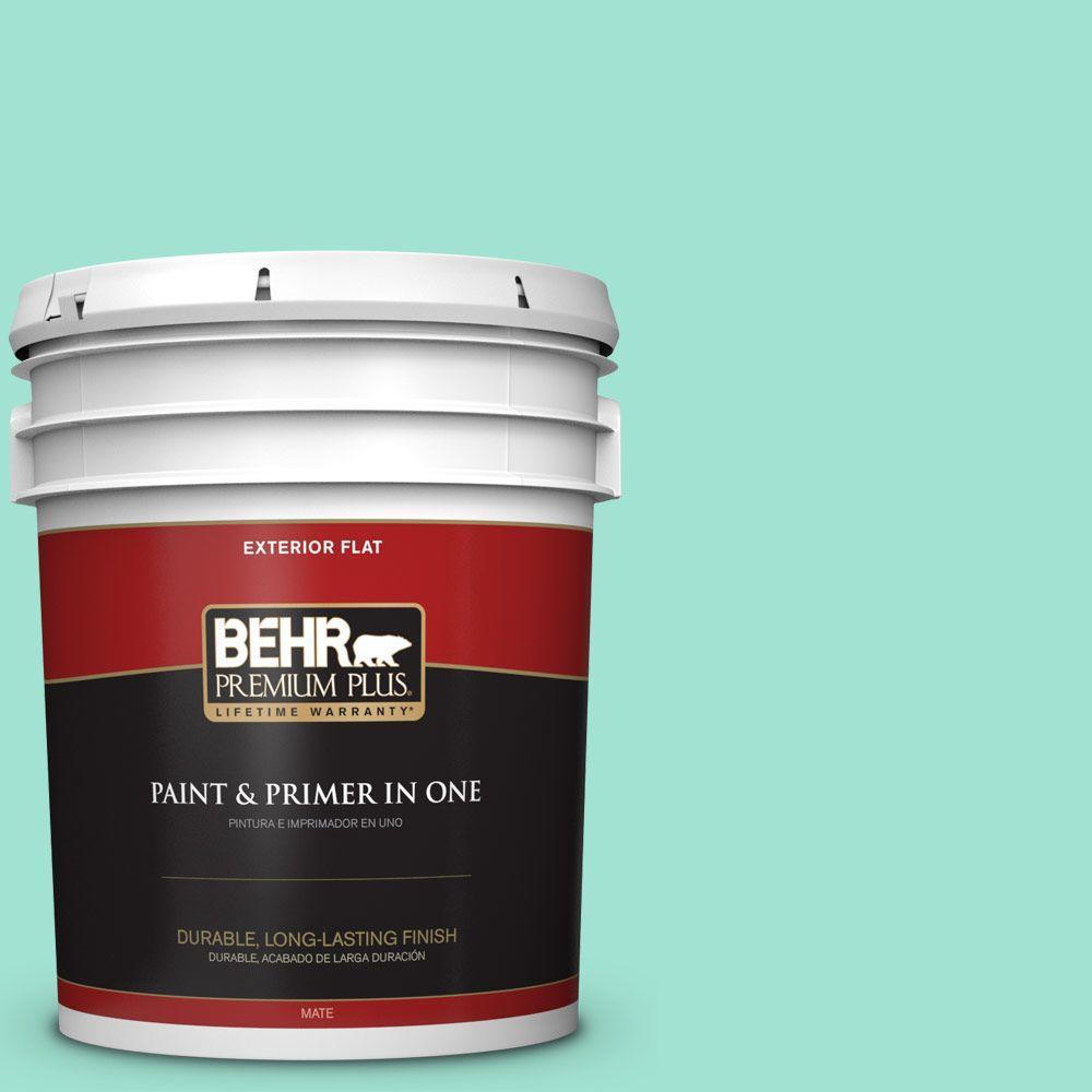 BEHR Premium Plus 5-gal. #P430-2 Aqua Wish Flat Exterior Paint