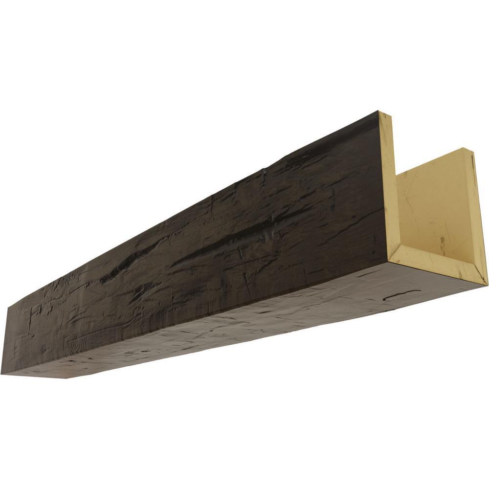 Ekena Millwork 12 In X 4 In X 8 Ft 3 Sided U Beam Hand Hewn Premium Walnut Faux Wood Ceiling Beam Bmhh3c0040x120x096zw The Home Depot