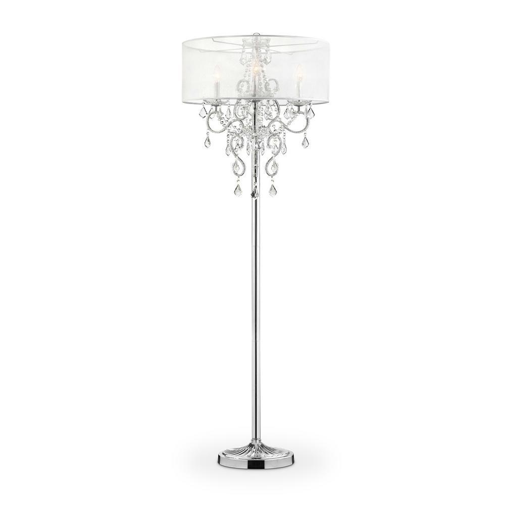 Evangelia Silver Crystal Floor Lamp