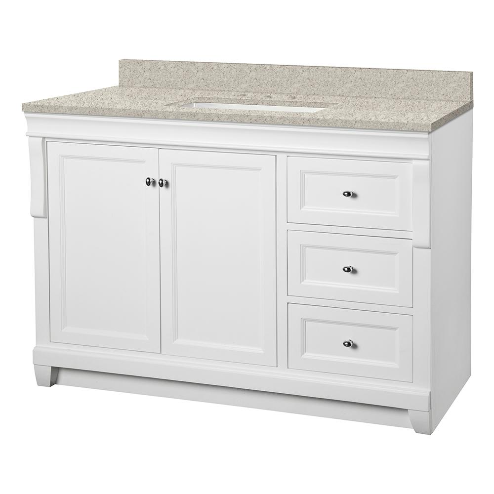 Home Decorators Collection Naples 49 in. W x 22 in. D Vanity in White with Engineered Marble Vanity Top in Sedona with White Sink