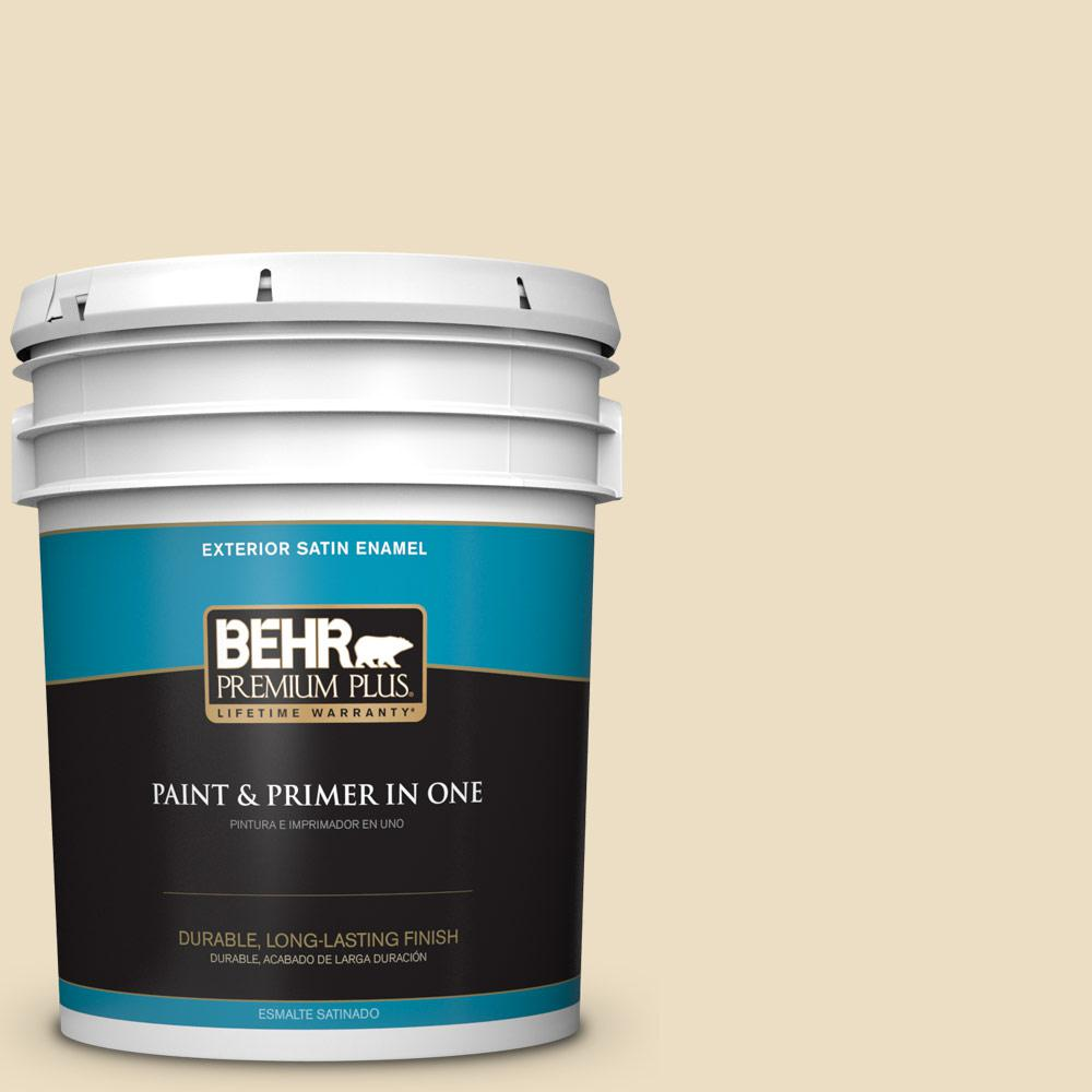 5 gal. #YL-W6 Navajo White Satin Enamel Exterior Paint and Primer