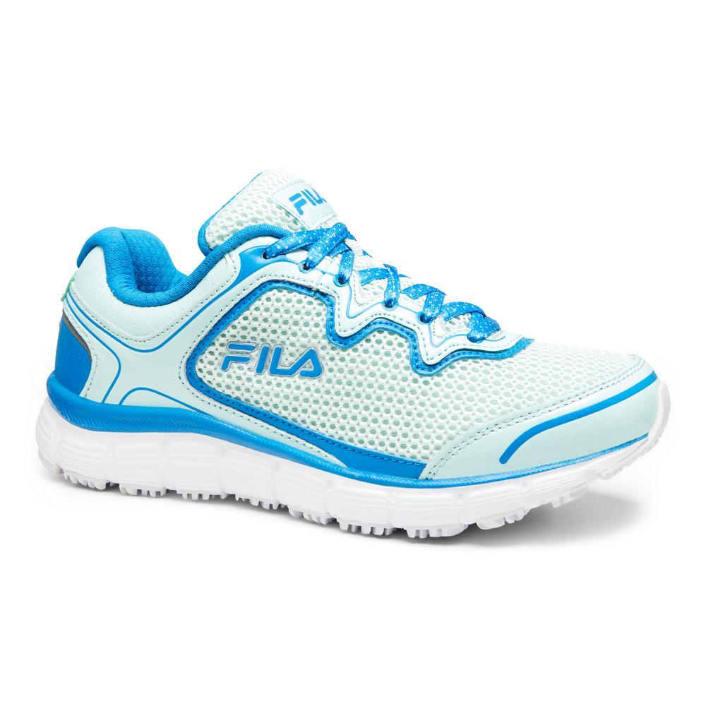 5053b79a8c Memory Fresh Start Women Size 10 Fair Aqua  Electric Blue Leather Synthetic  Soft Toe Work Shoe