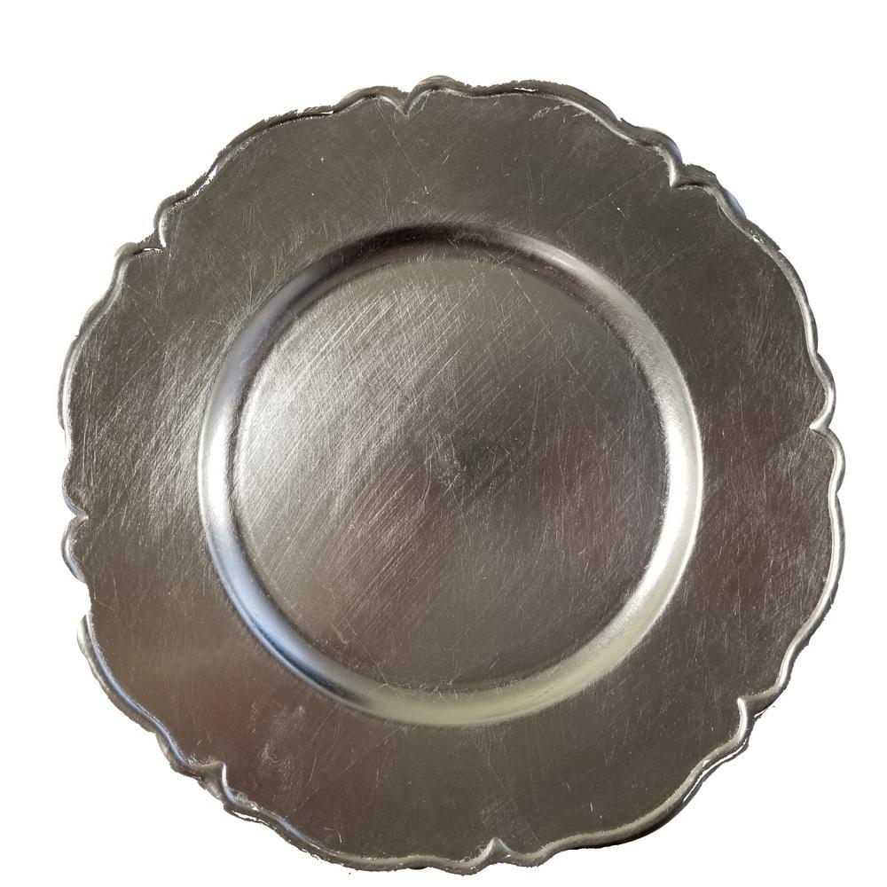 Silver Polypropylene Charger Plates (Set of 4)