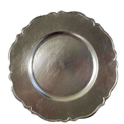 Silver Polypropylene Charger Plates (Set of 4)