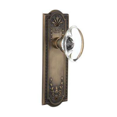 Meadows Plate 2-3/8 in. Backset Antique Brass Passage Oval Clear Crystal Glass Door Knob