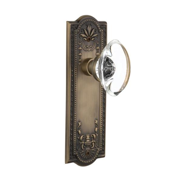Nostalgic Warehouse Meadows Plate 2 3 8 In Backset Antique Brass Passage Hall Closet Oval Clear Crystal Glass Door Knob 711334 The Home Depot