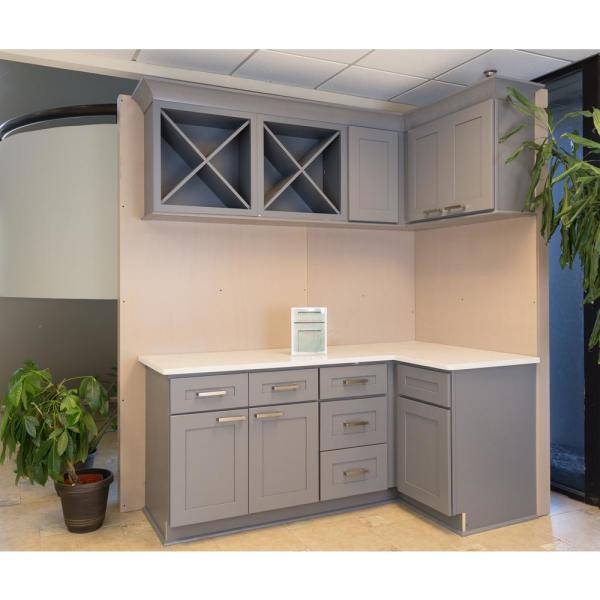 Lifeart Cabinetry Lancaster Shaker Assembled 36x15x24 In 2 Door Wall Cabinet No Shelf In Gray Alg W3615 24 The Home Depot