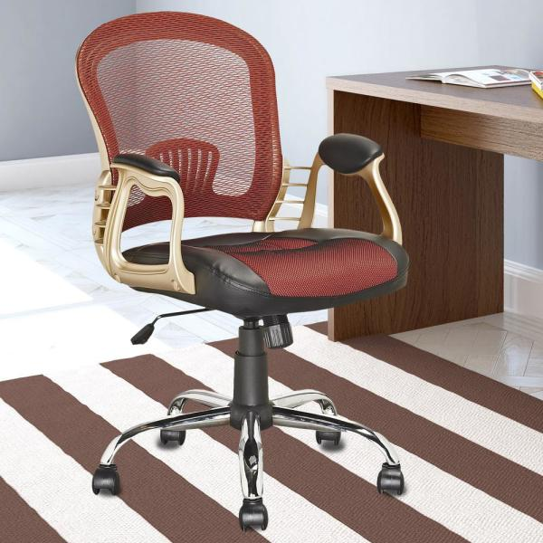 CorLiving Workspace Office Chair in Black Leatherette and Red Mesh LOF-258-O