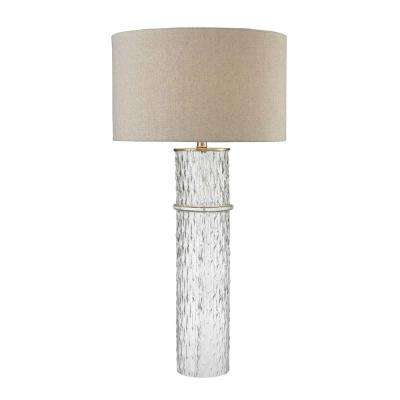 Clear Two Tier Glass Table Lamp With Grey Linen Shade