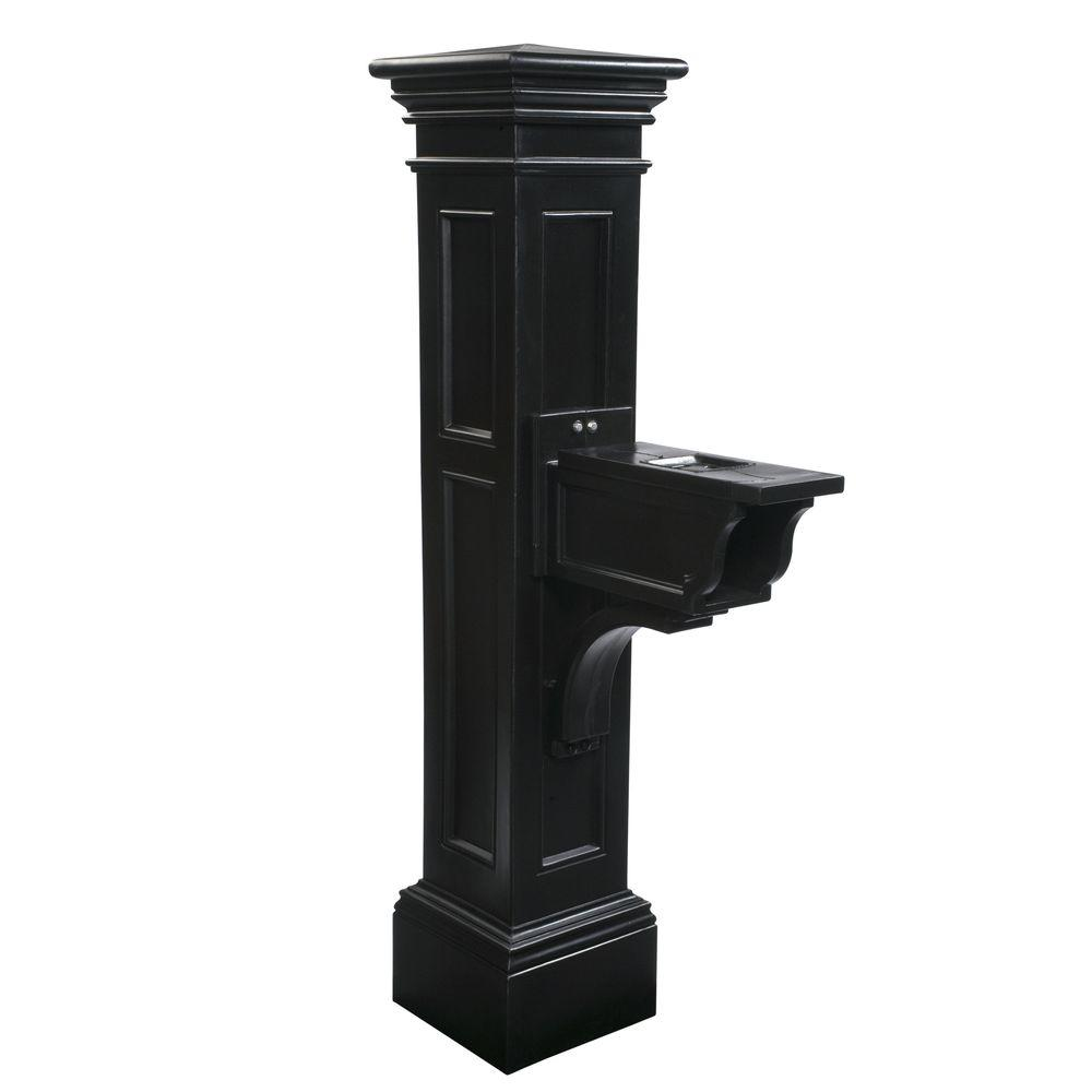Mayne Estate Series Plastic Mailbox Post, Black