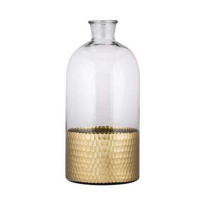 Cut Scale 8 in. x 17 in. Glass Decorative Jug in Clear and Gold