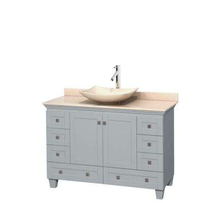 Acclaim 48 in. W x 22 in. D Vanity in Oyster Gray with Marble Vanity Top in Ivory with Ivory Basin