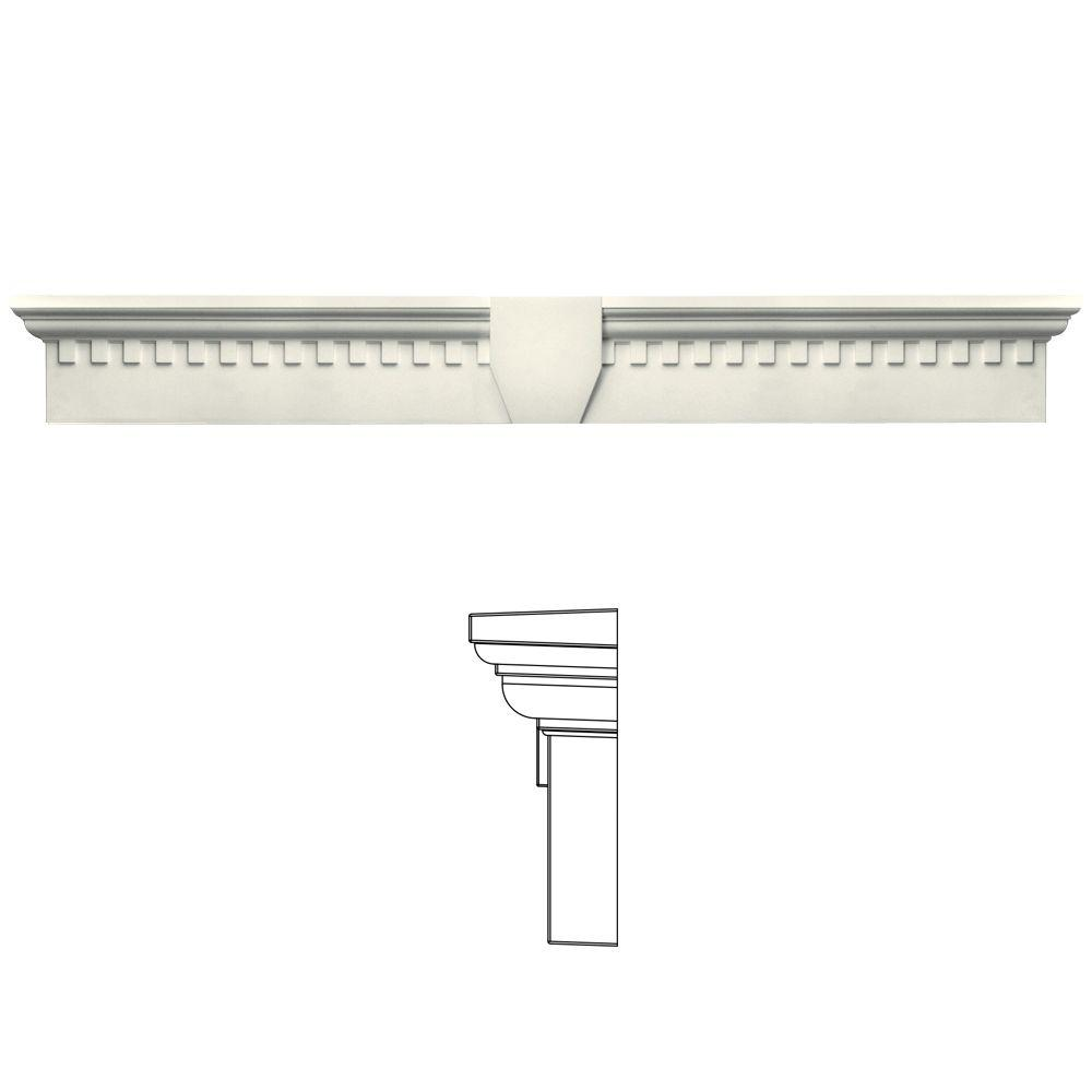 Builders Edge 9 in. x 73 5/8 in. Classic Dentil Window Header with Keystone in 034 Parchment