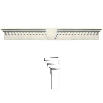 9 in. x 73 5/8 in. Classic Dentil Window Header with Keystone in 034 Parchment