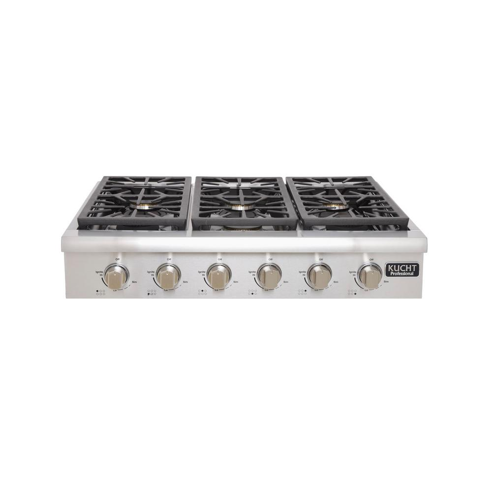 Professional 36 in. Propane Gas Range Top with 6 Sealed Burners