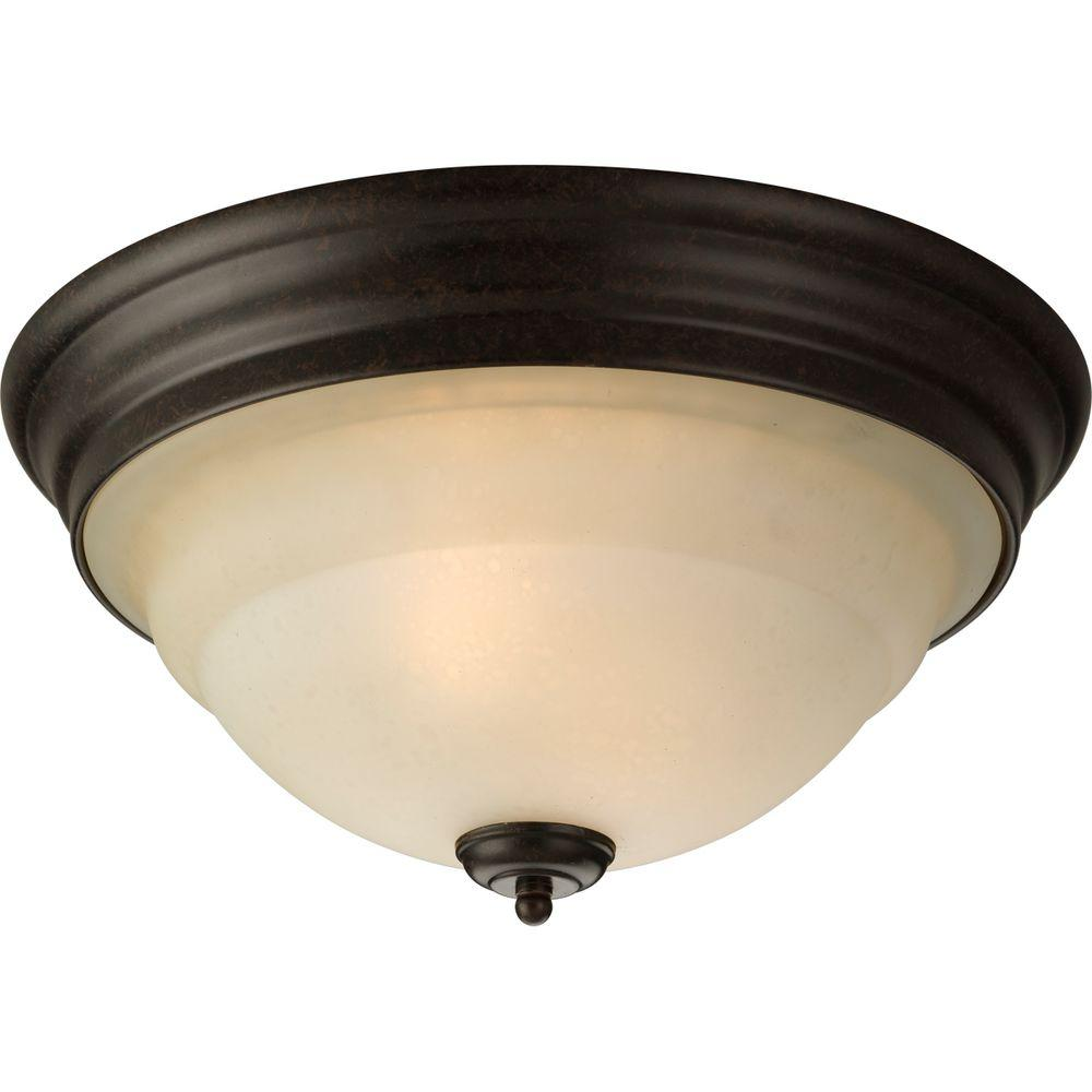 Progress Lighting Torino 2 Light Forged Bronze Flush Mount With Tea Stained Gl