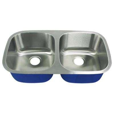 Meridian Undermount Stainless Steel 32.406 in. 50/50 Double Bowl Kitchen Sink in Brushed Stainless Steel