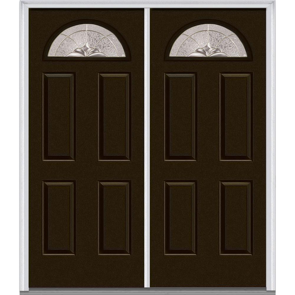 72 in. x 80 in. Heirloom Master Left-Hand Inswing Fan Lite Decorative Painted Fiberglass Smooth Prehung Front Door