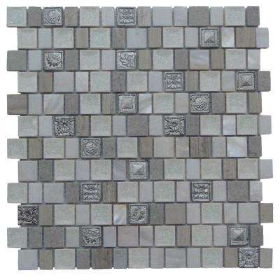 Charm II Silver Glass and Stone Floor and Wall Tile - 3 in. x 6 in. Tile Sample