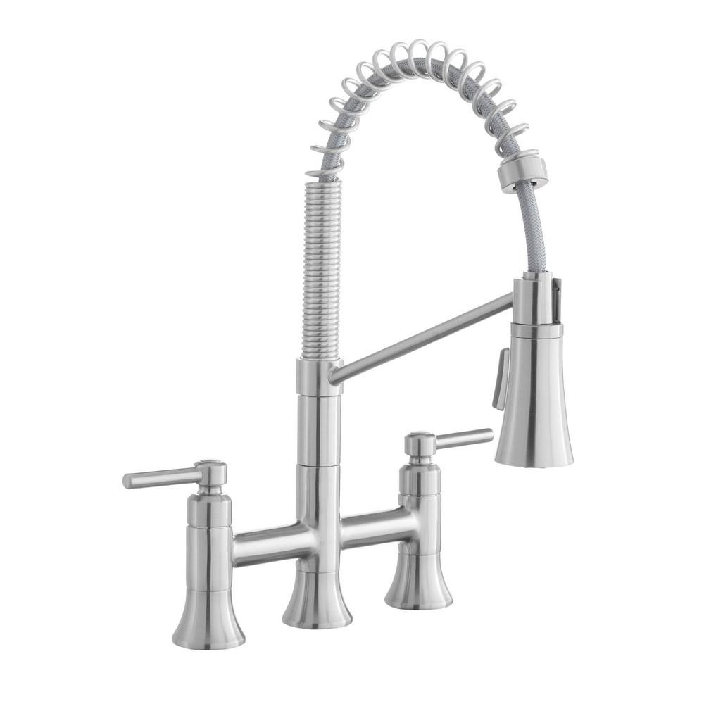 Pritchard Two-Handle Spring Neck Pull-Down Sprayer Bridge Kitchen Faucet in Stainless Steel