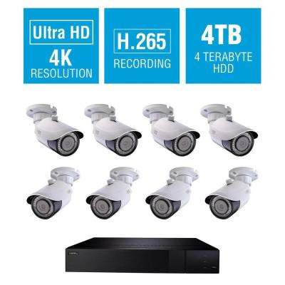 16 Channel 4K 4TB H.265 NVR Video Surveillance System with (8) 4K Bullet Cameras, 100 ft. Night Vision