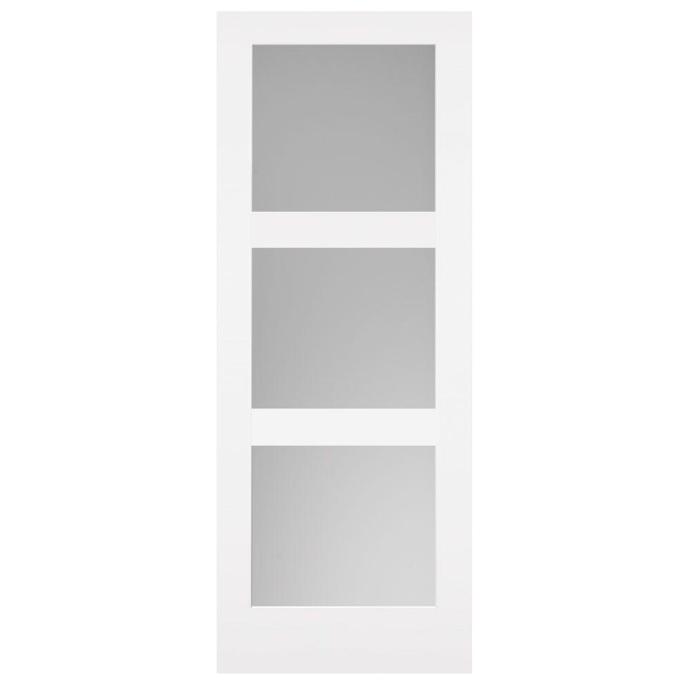 30 in. x 84 in. Primed 3-Lite Equal Solid Wood Interior