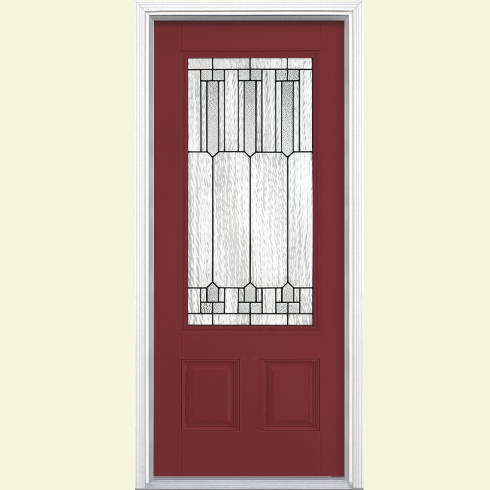 Masonite Glendale Three Quarter Rectangle Painted Smooth Fiberglass Prehung Front Door with Brickmold-DISCONTINUED