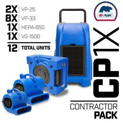 CP-1X Water Contractor Pack 1 Commercial Dehumidifier 1 Air Scrubber 8 Air Mover 2 Mini Air Mover