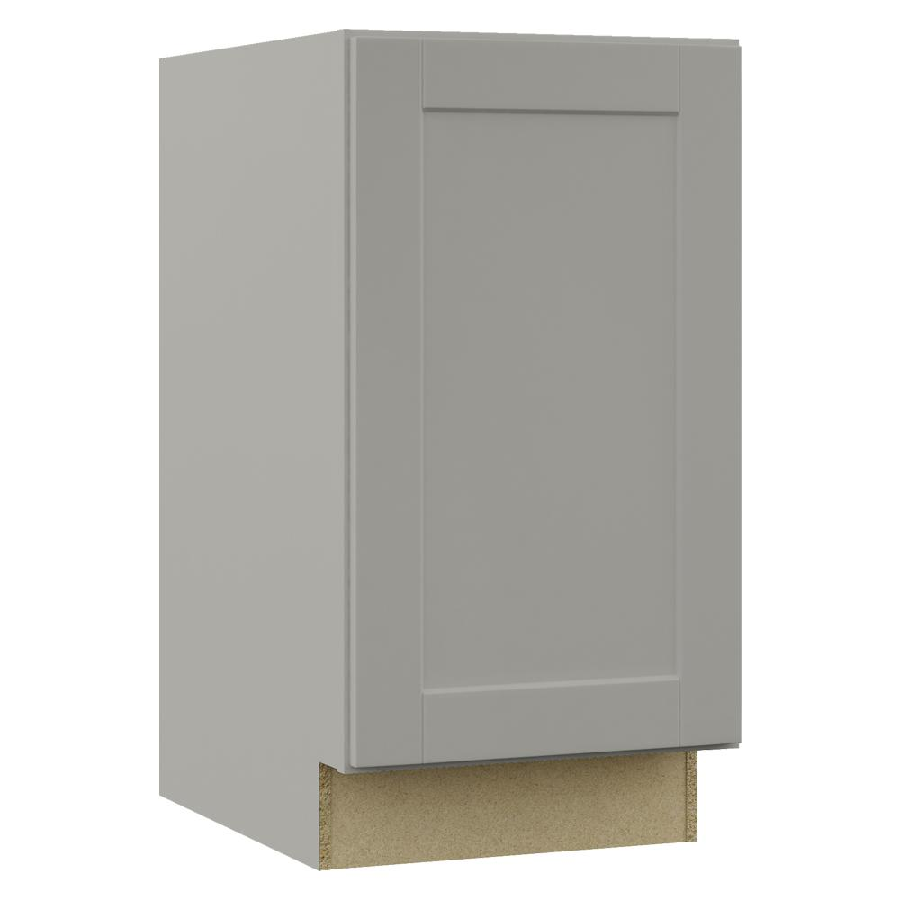 Hampton Bay Shaker Assembled 18x34.5x24 in. Pull Out Trash Can Base Kitchen  Cabinet in Dove Gray
