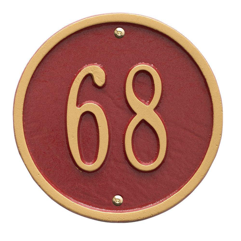 Whitehall Products Round Petite Red/Gold Wall 1-Line Address Plaque