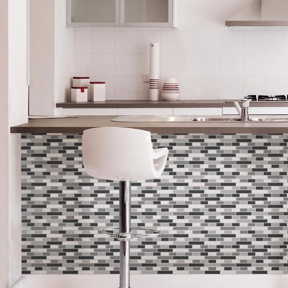 - Wall Pops Black Smoked Glass Peel Stick Backsplash Tiles NH2362