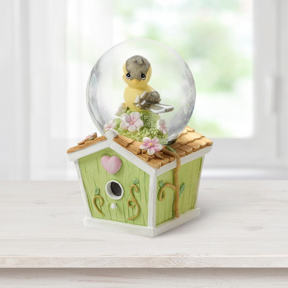 Tabletop Snow Globe Resin/Glass Mini Goldfinch Birdhouse
