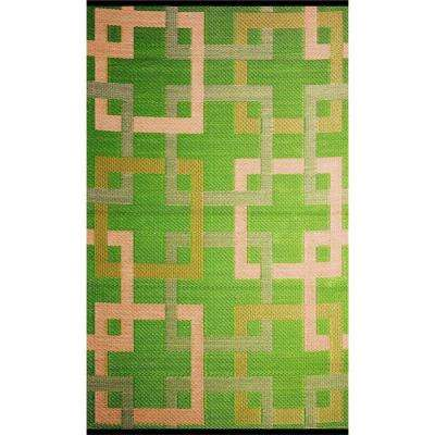 Squares Green Beige 5 Ft X 8 Outdoor Reversible Area Rug