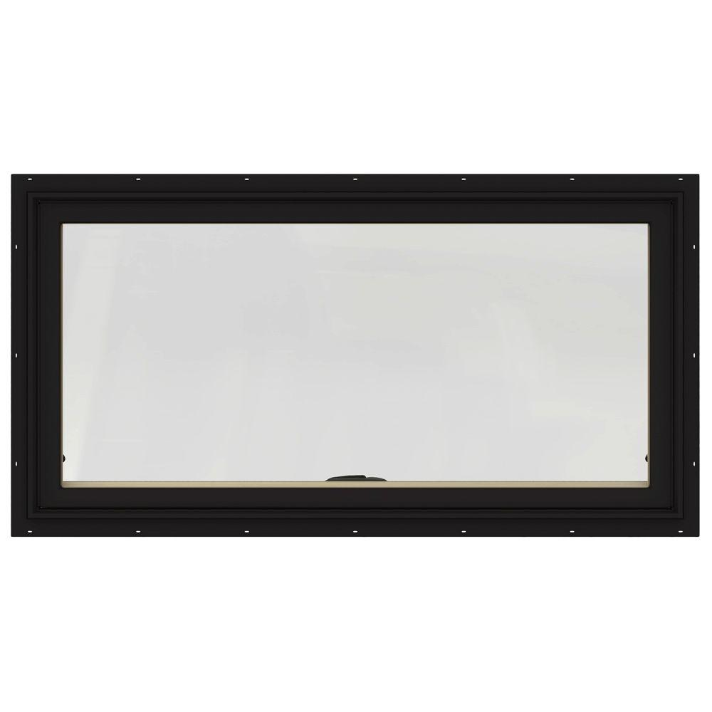 JELD-WEN 48 in. x 20 in. W-2500 Series Black Painted Clad Wood Awning Window w/ Natural Interior and Screen