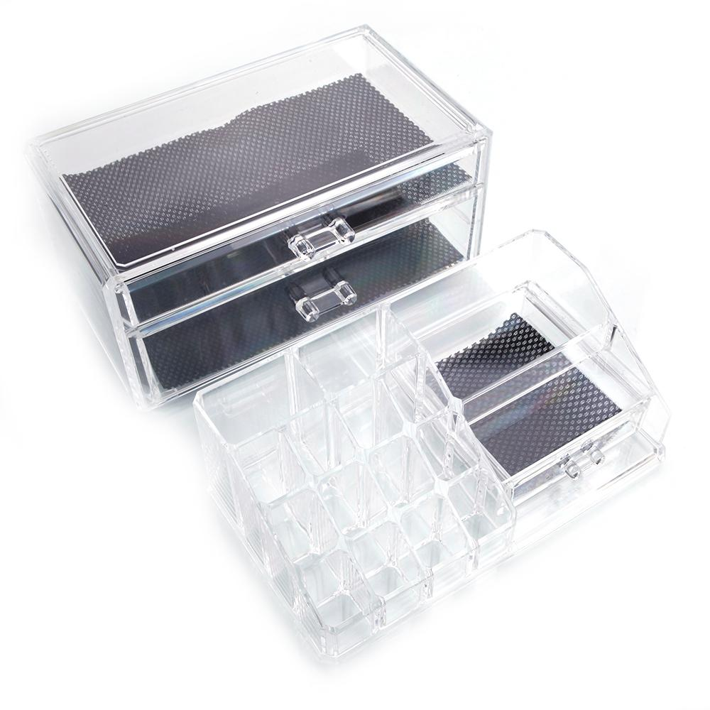 NORTH SUNSHINE 6 in. x 7 in. x 9 in. SF-1154 Transparent Plastic Cosmetics Storage Rack with 2-Drawer (2-Piece) Introductions: Welcome to our store. It is a great organizer to collect your cosmetics storage rack. This 2pcs Plastic Cosmetics Storage Rack with 2 Drawers will be your best choice. Its compact and fashionable design is pleasant to set your cosmetics. Moreover, it is made of high quality plastic material, durable and comfortable by touch. This cosmetics storage rack is specially designed for the one who have many cosmetics. What is more, it is brand new and high quality for you to use. Then, what are you waiting for. Action is more than thinking.Features: Its compact and fashionable design is pleasant to set your cosmetics. It is made of high quality plastic material, durable and comfortable by touch. This cosmetics storage rack is specially designed for the one who have many cosmetics. Brand new and high quality. It will be your best choice Specifications: Material: Plastic. Color: Transparent. Dimensions: (9.45 x 5.91 x 7.32) in. / (24 x 15 x 18.6)cm (L x W x H). Weight: 47.66 Oz. / 1351 g. Quantity: 2Pieces / Set Package Includes: 1 x Cosmetics Storage Rack.
