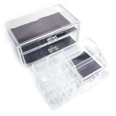 6 in. x 7 in. x 9 in. SF-1154 Transparent Plastic Cosmetics Storage Rack with 2-Drawer (2-Piece)