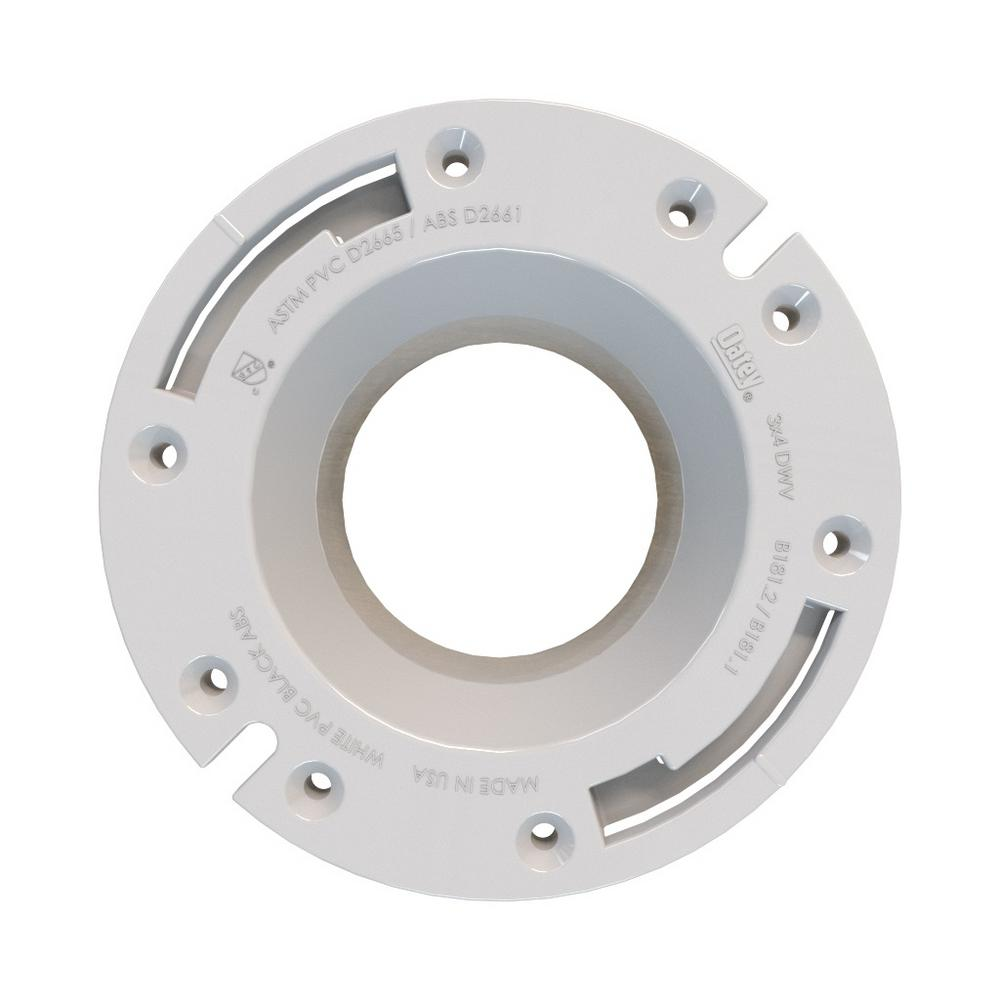 Oatey Fast Set 3 in. Outside Fit or 4 in. Inside Fit ABS Open Hub Toilet Flange with Stainless Steel Ring