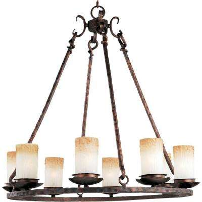 Rustic chandeliers lighting the home depot notre dame 8 light oil rubbed bronze chandelier aloadofball