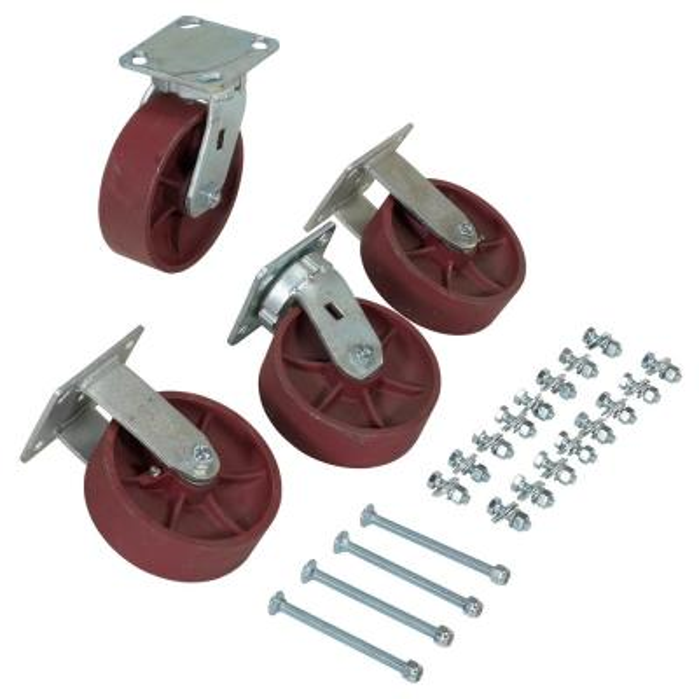 6 Diameter Wheels 4800 lb Vestil D-CK4-SC6-2 Semi-Steel Plate Caster Set for Self-Dumping Hopper Capacity 6 Diameter Wheels Vestil Manufacturing Corp