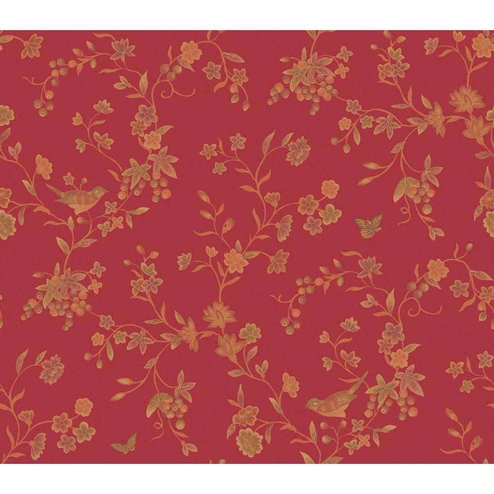 The Wallpaper Company 56 sq. ft. Venetian Red Imperial Silk Wallpaper-DISCONTINUED