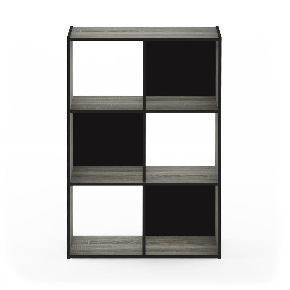Pelli 35.94 in. French Oak Gray Wood 6-shelf Cube Bookcase with Open Back