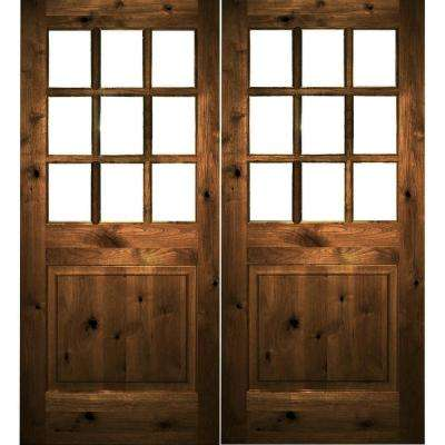 72 in. x 80 in. Craftsman Knotty Alder Wood Clear 9-Lite provincial stain Right Active Double Prehung Front Door