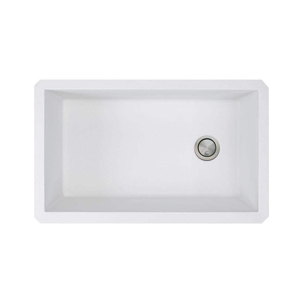 Transolid Radius Undermount Granite 32 In Single Bowl Kitchen Sink White