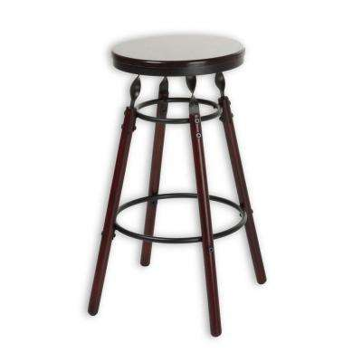 Boston 26 in. Wood Bar Stool with Dark Cherry Backless Seat and Charcoal Metal Finish